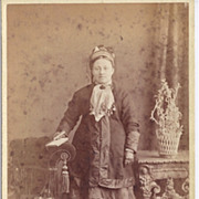Early Carte-de-Visite of Couple, Woman in Fabulous Clothes and Setting