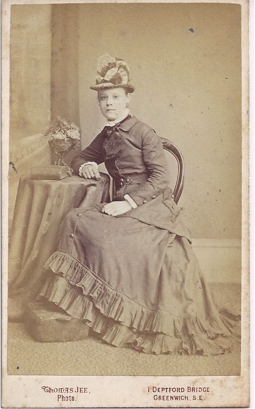 Early Carte-de-Visite of Couple, Woman in Fabulous Dress & Hat
