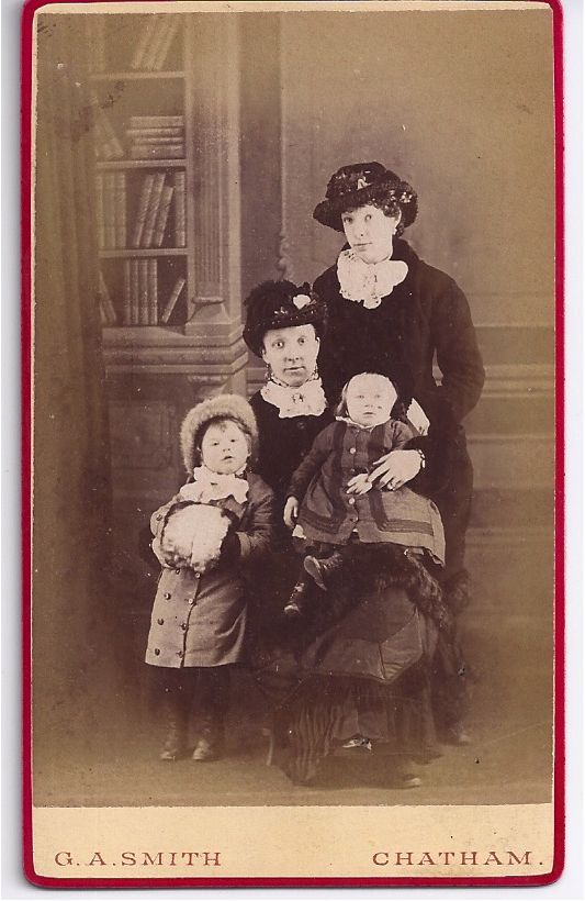 Early Carte-de-Visite of Family Group, 2 Woman & 2 Children