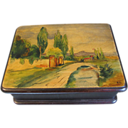 Lovely Antique Wood Playing Card Box, Landscape Lid