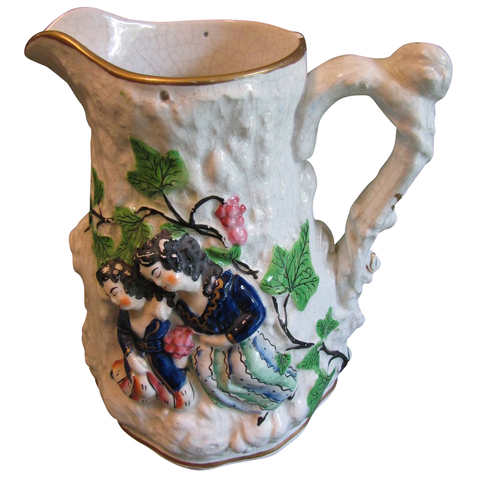 Huge Staffordshire Pitcher, Figures and Grapes