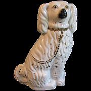 Large Antique White Staffordshire Comfort Dog (Spaniel)