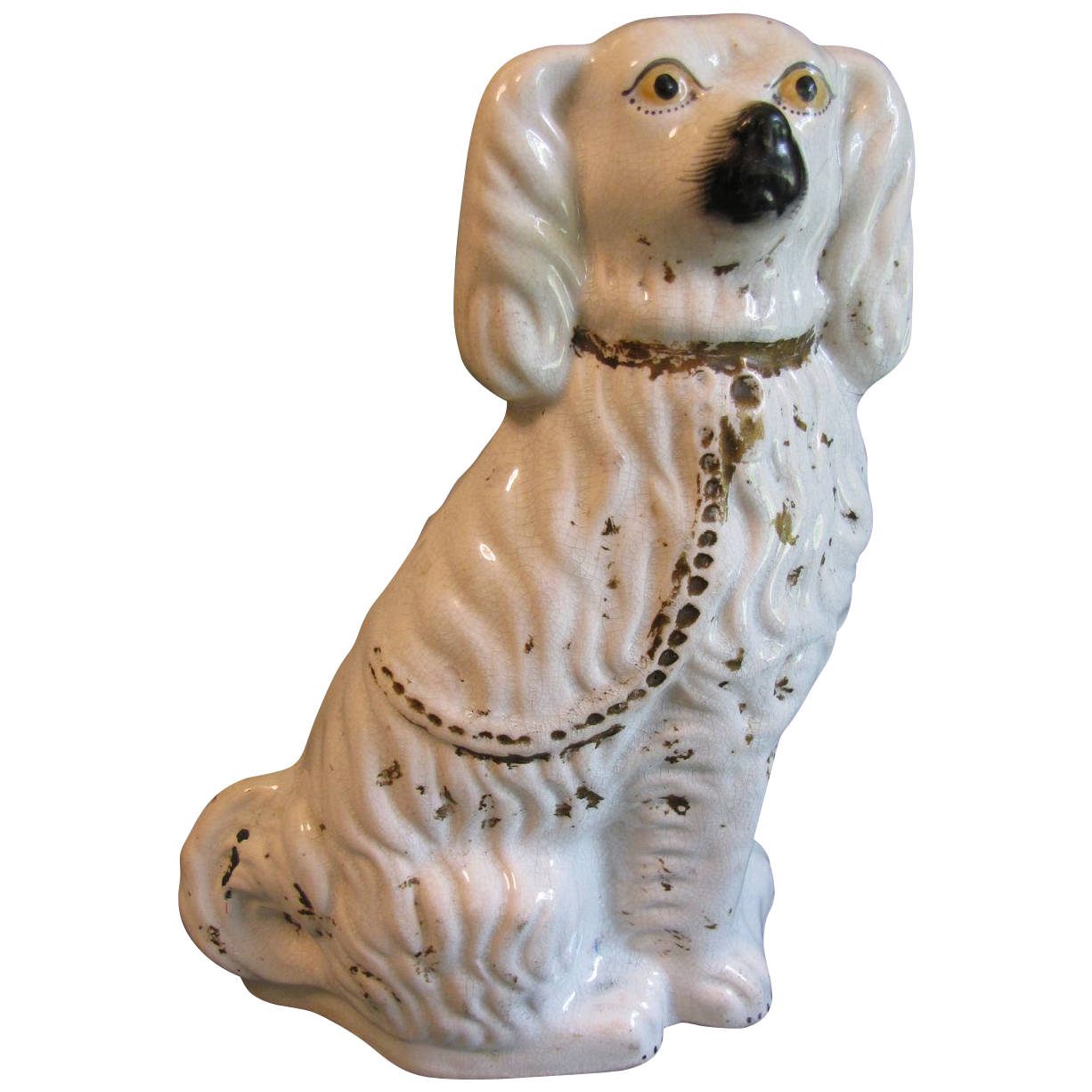 Large Antique White Staffordshire Comfort Dog (Spaniel)