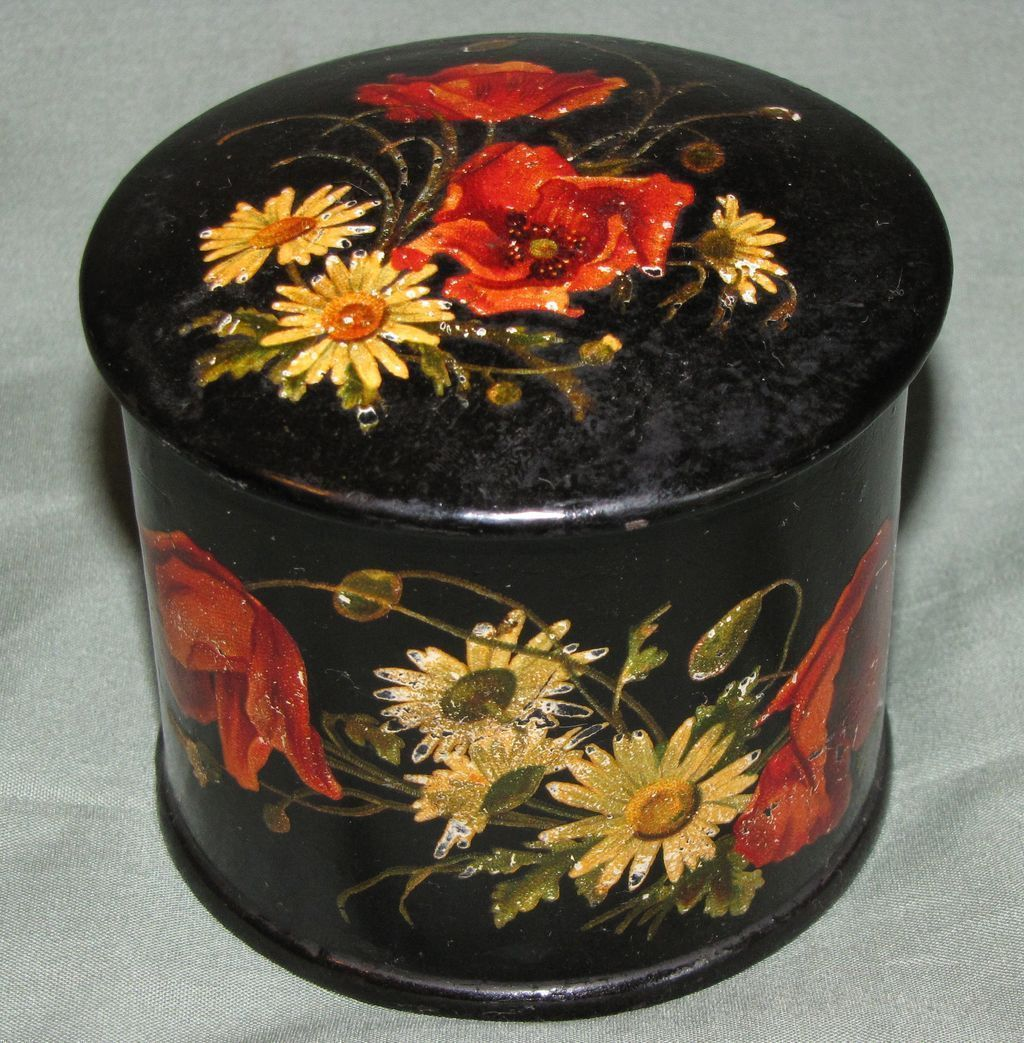 Lovely Round Papier Mache Powder Box, Red Poppies & White Daisies