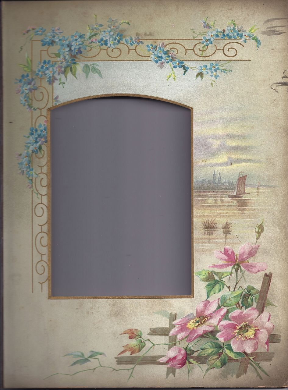 Lovely Floral and Landscape Page From Victorian Photo Album