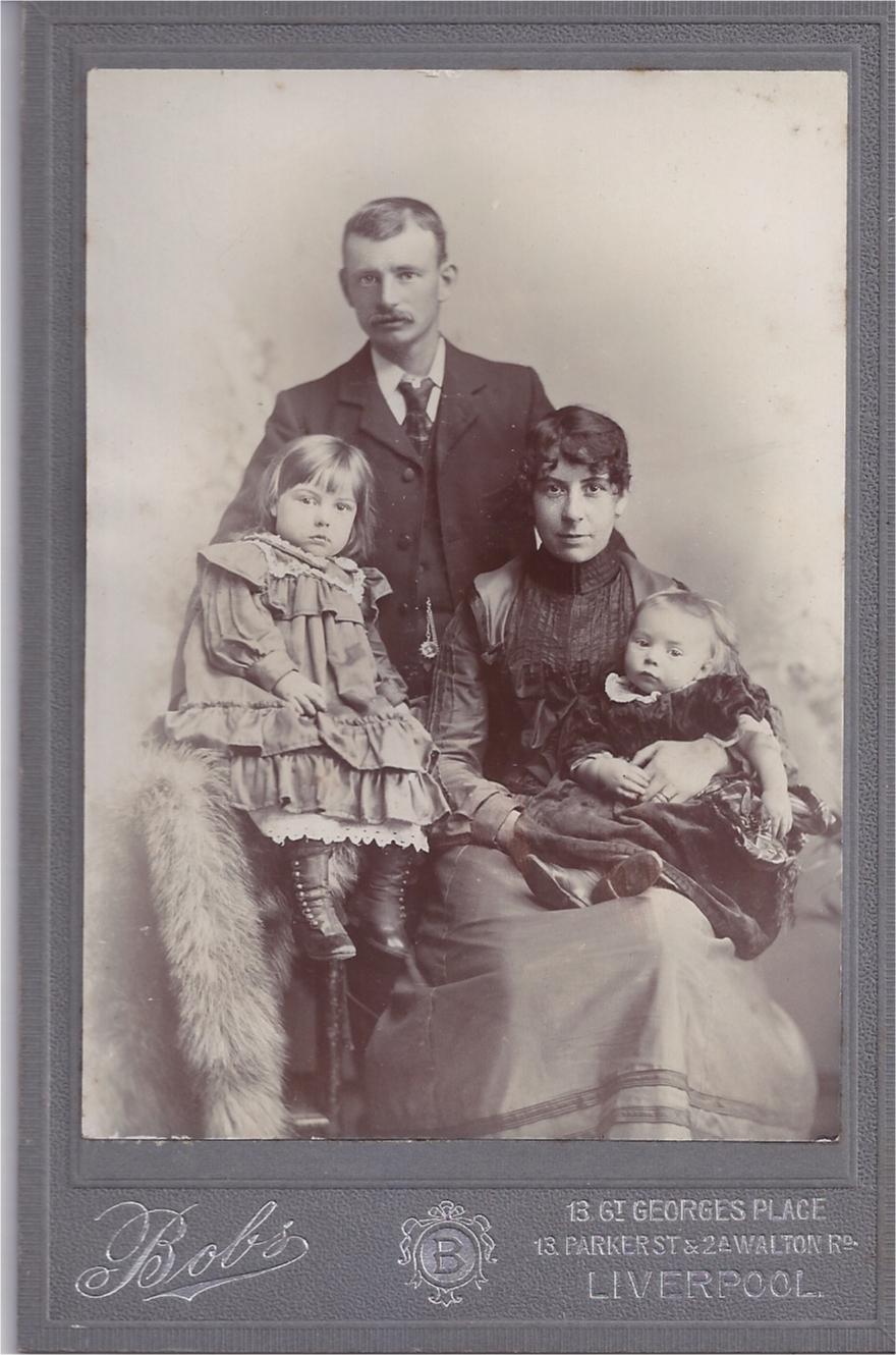 Victorian Cabinet Photograph of Young Family of Four