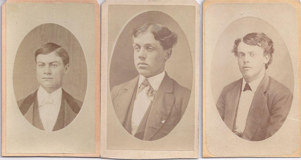 Group of 3 Victorian Photograph Carte De Visite Cards, Young Men