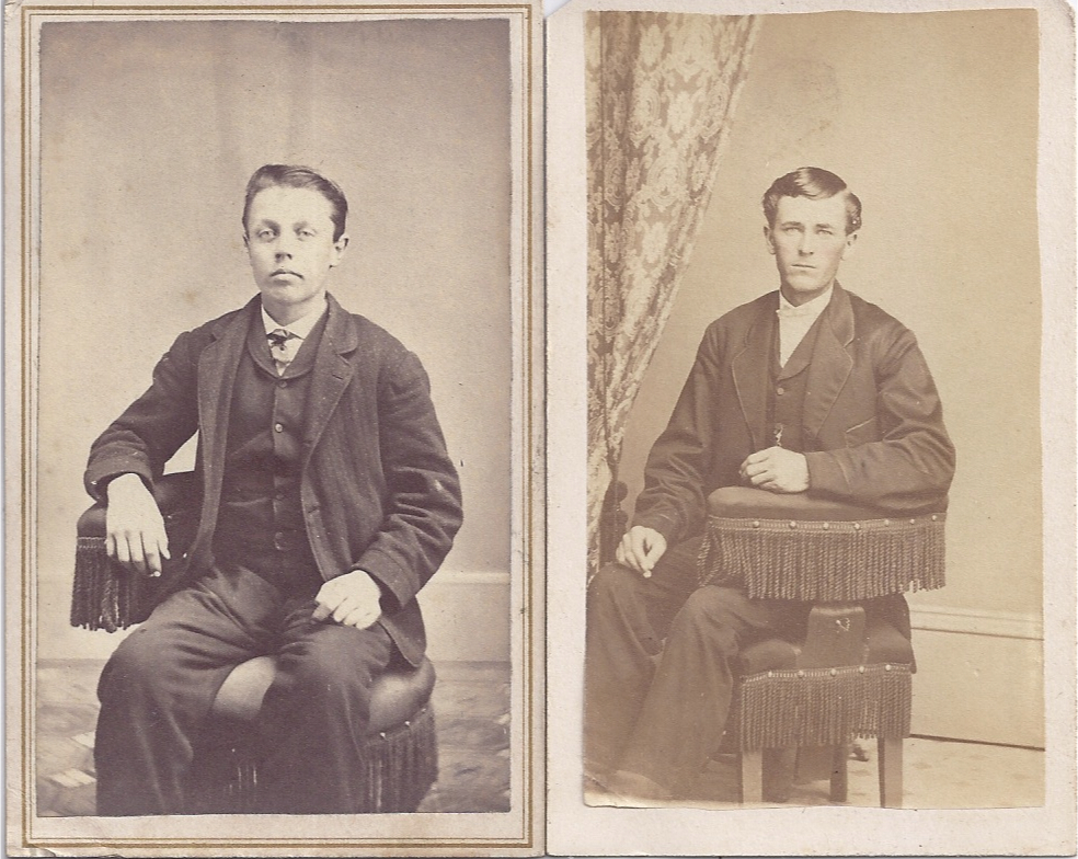 Pair of Victorian Photograph Carte de Visite Cards, Young Men