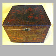 Lovely Large Flemish Art (Pyrography) Collar Box, Cherries