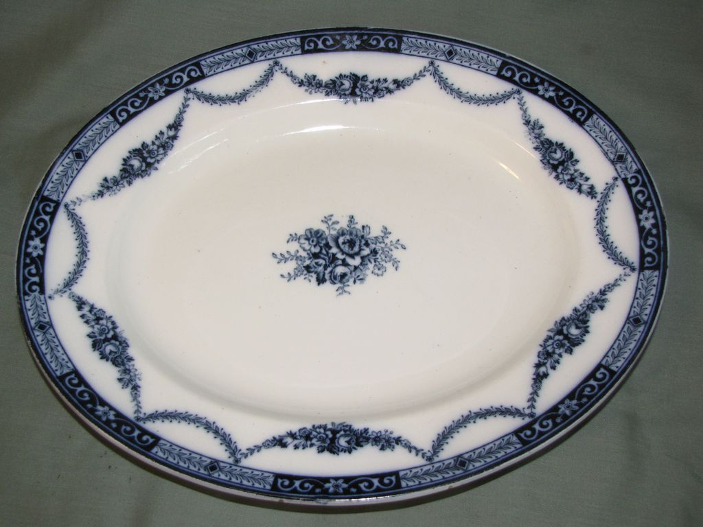 Lovely Flow Blue Platter, ALEXANDRA, S. Hancock & Sons