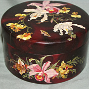 Gorgeous Papier Mache Box, Orchids & Butterfly