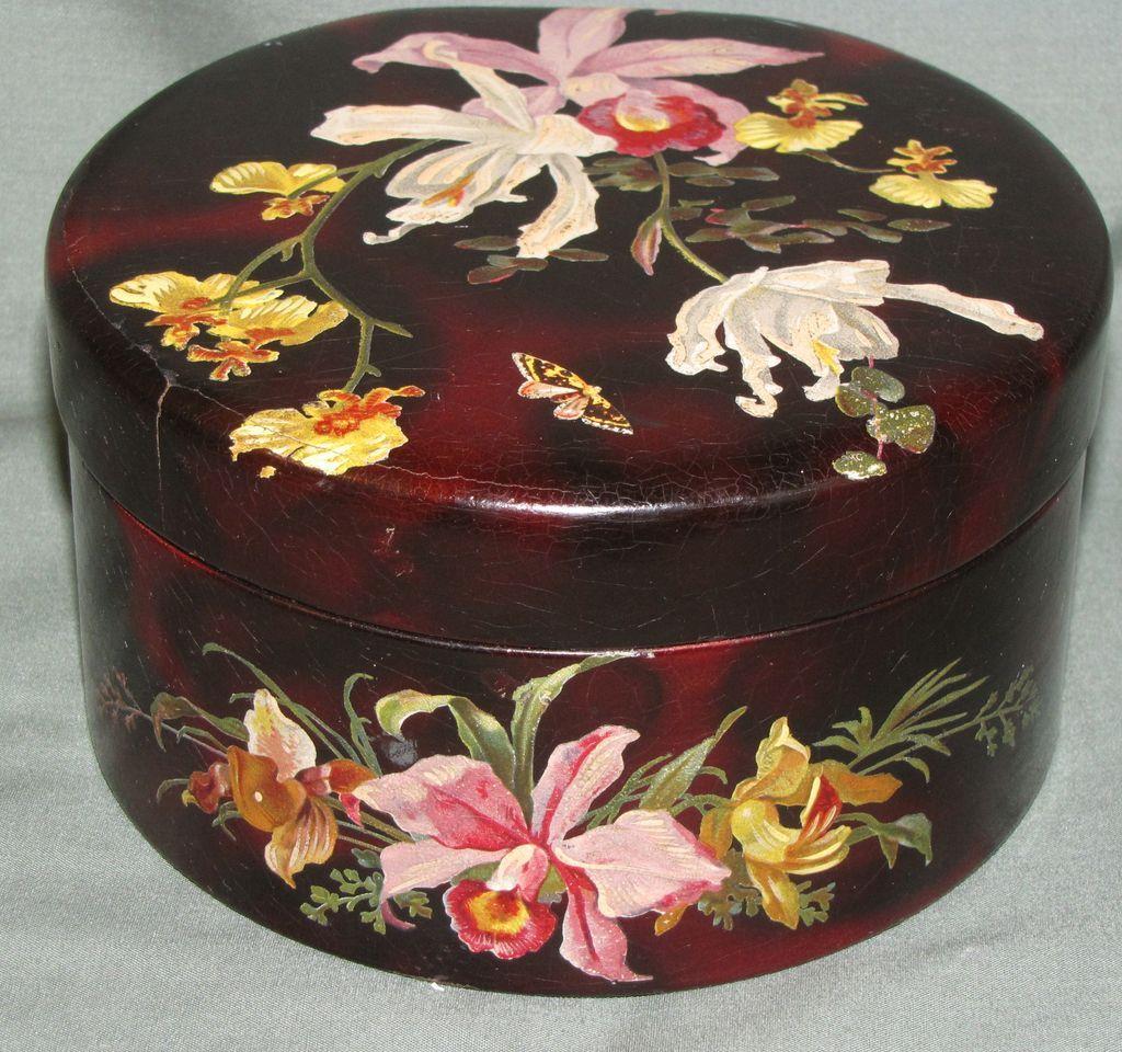 Gorgeous Papier Mache Box, Orchids & Butterfly