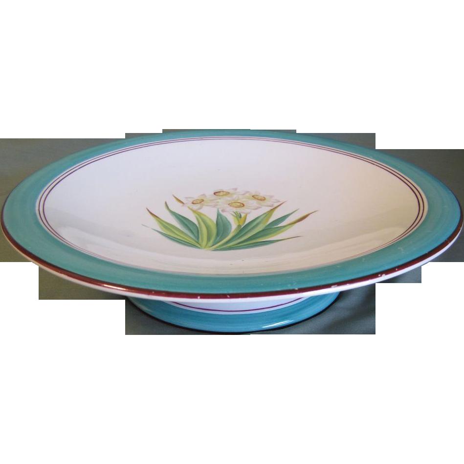 Lovely Short Pedestal Dessert Plate, Botanical, Daffodil