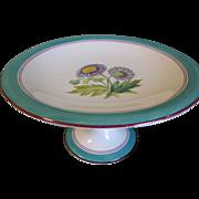 Lovely Pedestal Dessert Plate, Botanical, Lavender Daisy