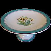 Lovely Short Pedestal Dessert Plate, Botanical, Lady Slippers