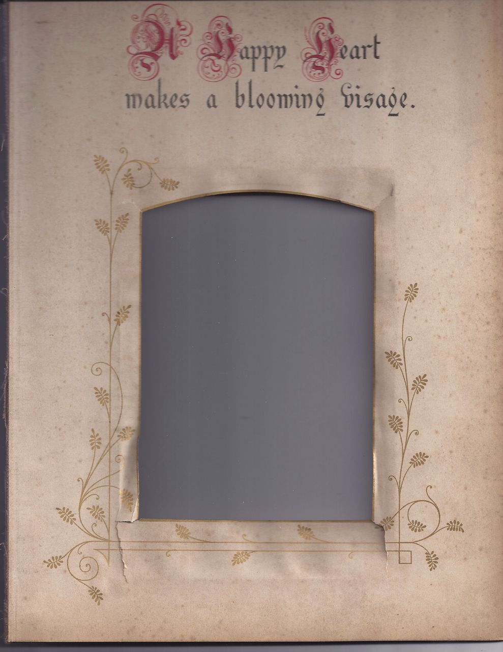 "Page From Victorian Photo Album, Proverb, ""A Happy Heart"""