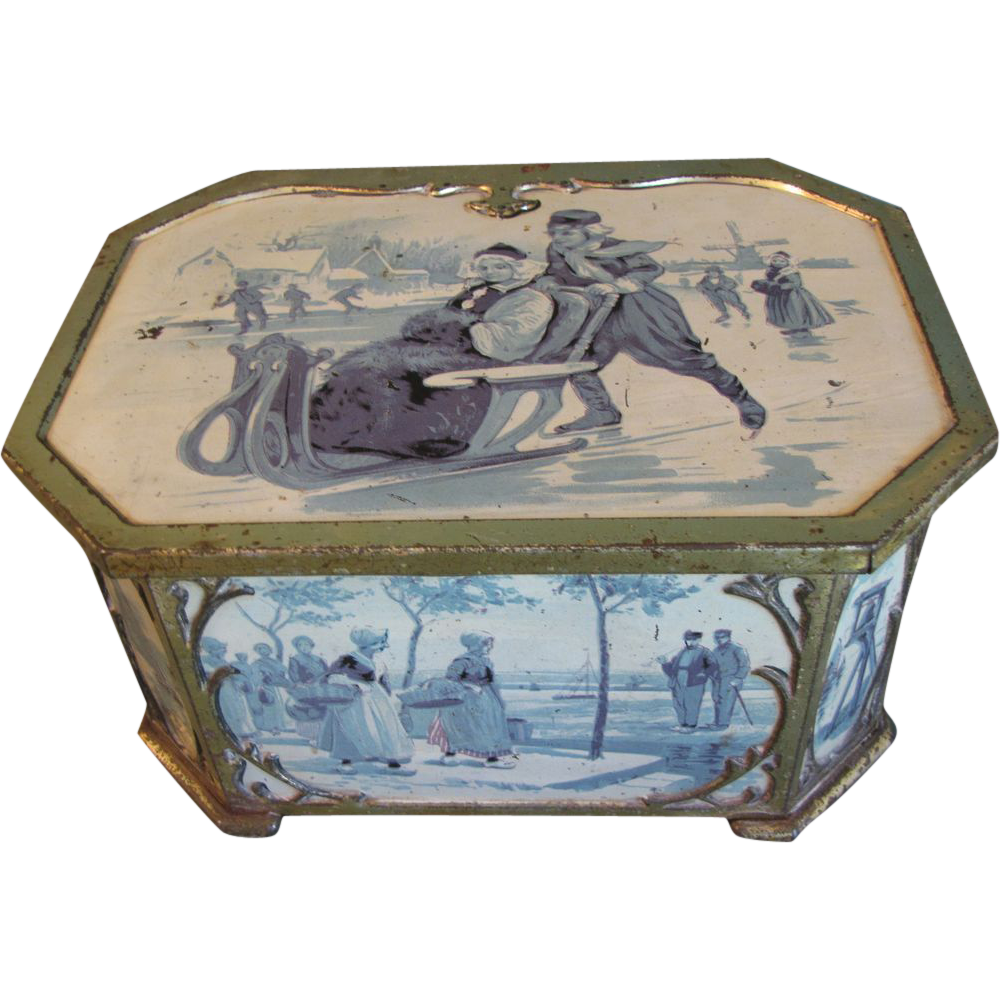 Circa 1910 Huntley & Palmers Biscuit Tin, Delft