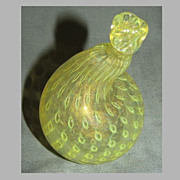 Vintage Murano Art Glass Fig, Yellow w/ Controlled Bubble and Gold