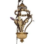 Vintage Italian Tole Chandelier, Florentine Metal & Wood