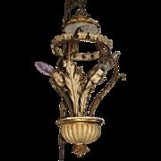 Vintage Italian Tole Chandelier, Florentine Metal & Wood