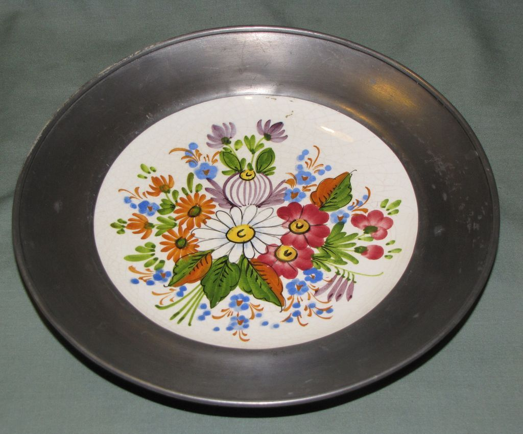 Vintage Hand Painted German Floral Plate, Pewter Rim
