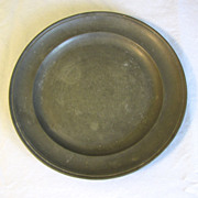 "Vintage 9"" Round Pewter Plate, French, Stamped"