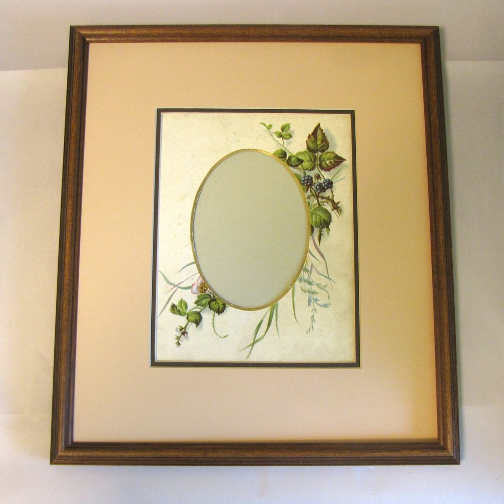 Chromolithograph Page from Victorian Photo Album, Framed