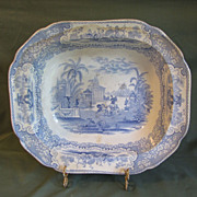 Lovely Large Light Blue Transferware Bowl, TRIUMPHAL CAR