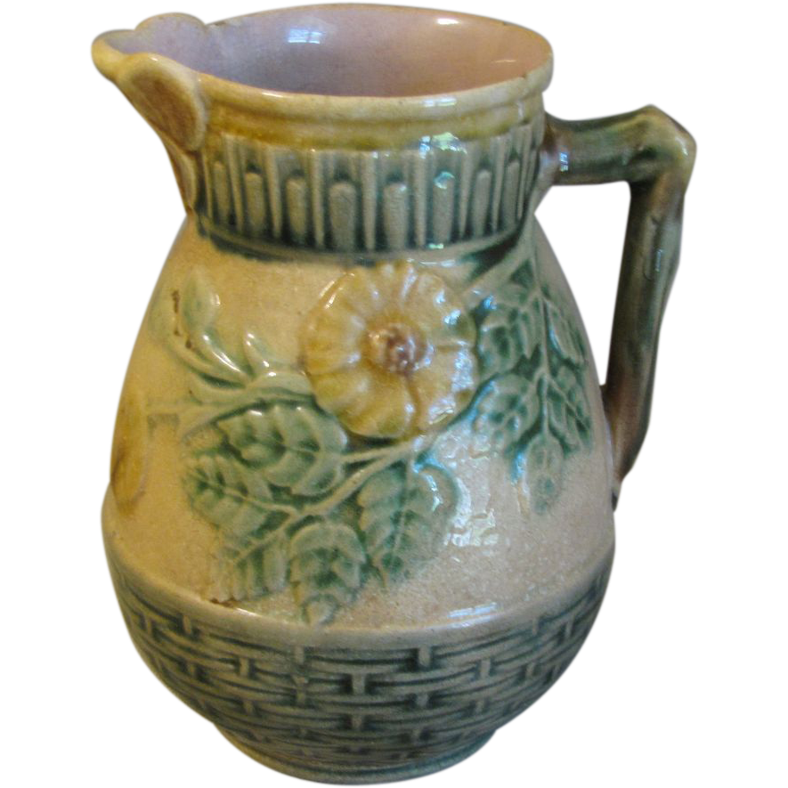 Lovely Antique Etruscan Majolica Pitcher, Butterfly Lip