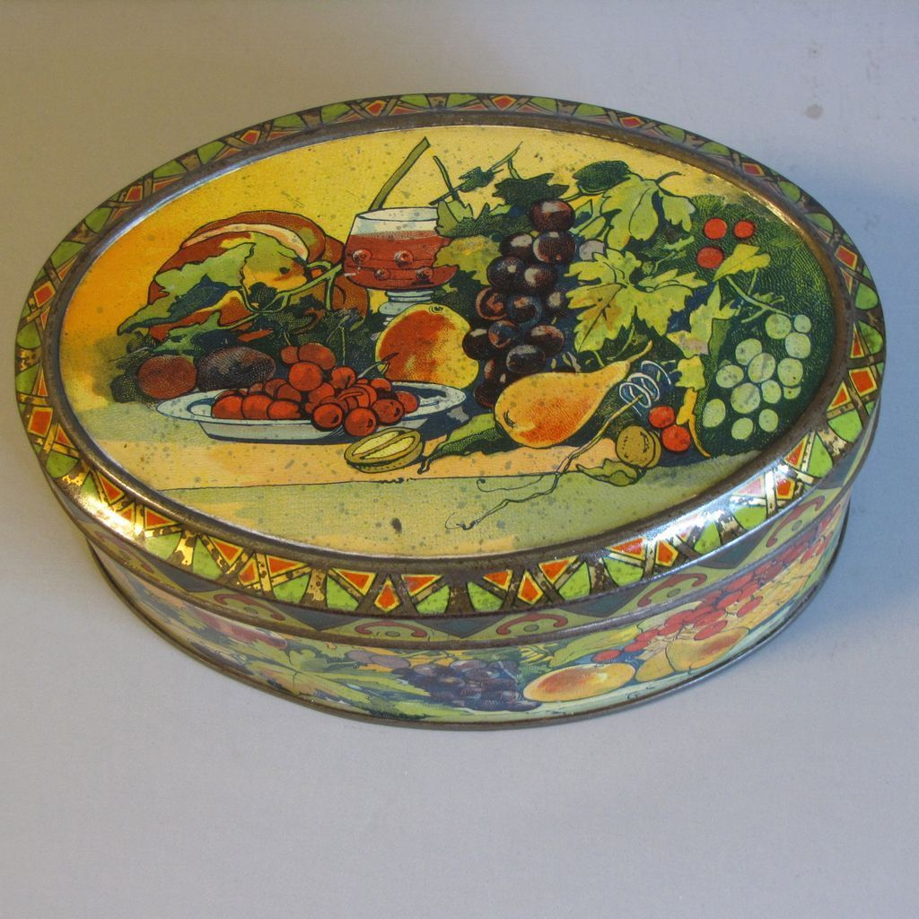 Lovely Small Oval European Biscuit Tin, Fruit & Wine