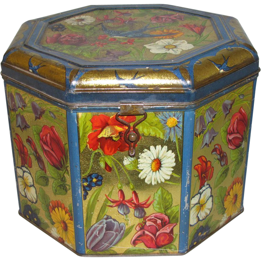 Absolutely Gorgeous Blue Bird Toffee Tin, Large, Octagonal