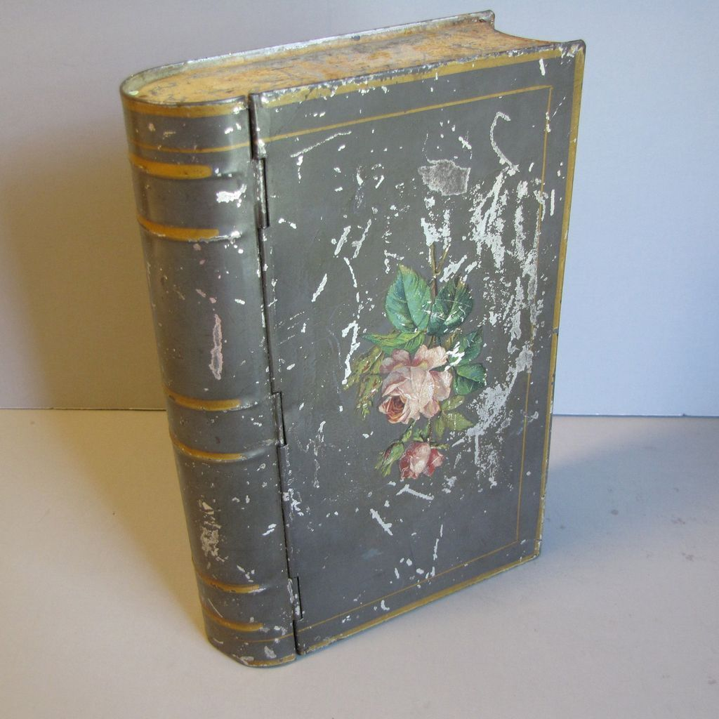 Unusual Vintage Book Biscuit Tin, Unmarked