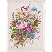 Lovely Title Page of Victorian Album, Bouquet of Flowers