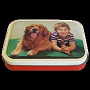 Cute Vintage Blue Bird Toffee Tin, Boy & Dog