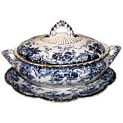 Lovely Large Flow Blue Tureen, Lid, Underplate, CHATSWORTH