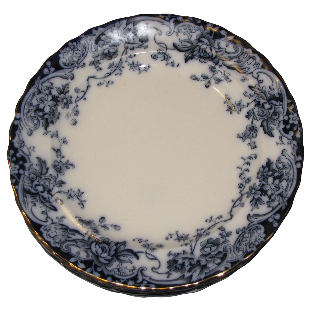 Lovely Flow Blue Dinner Plate, CHATSWORTH, 5 available