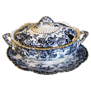 Lovely Dark Flow Blue Sauce Tureen, CHATSWORTH