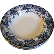 Group of 5 Flow Blue Soup Plates, CHATSWORTH