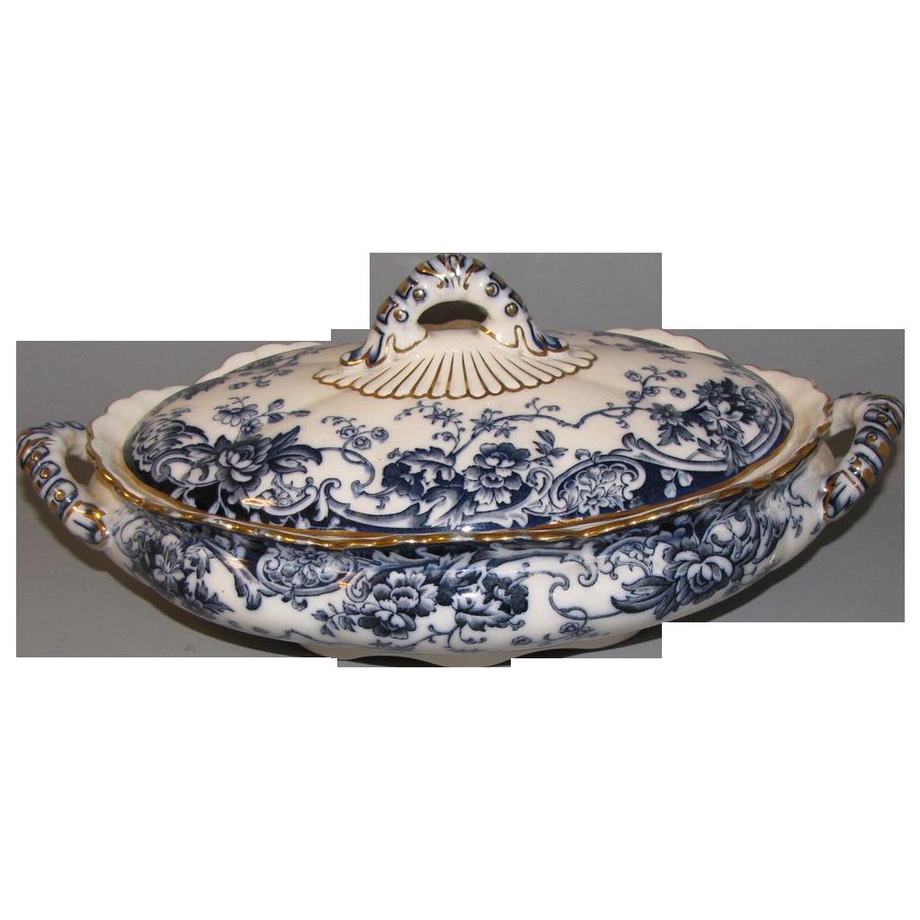 Lovely Dark Flow Blue Vegetable Bowl/Lid CHATSWORTH