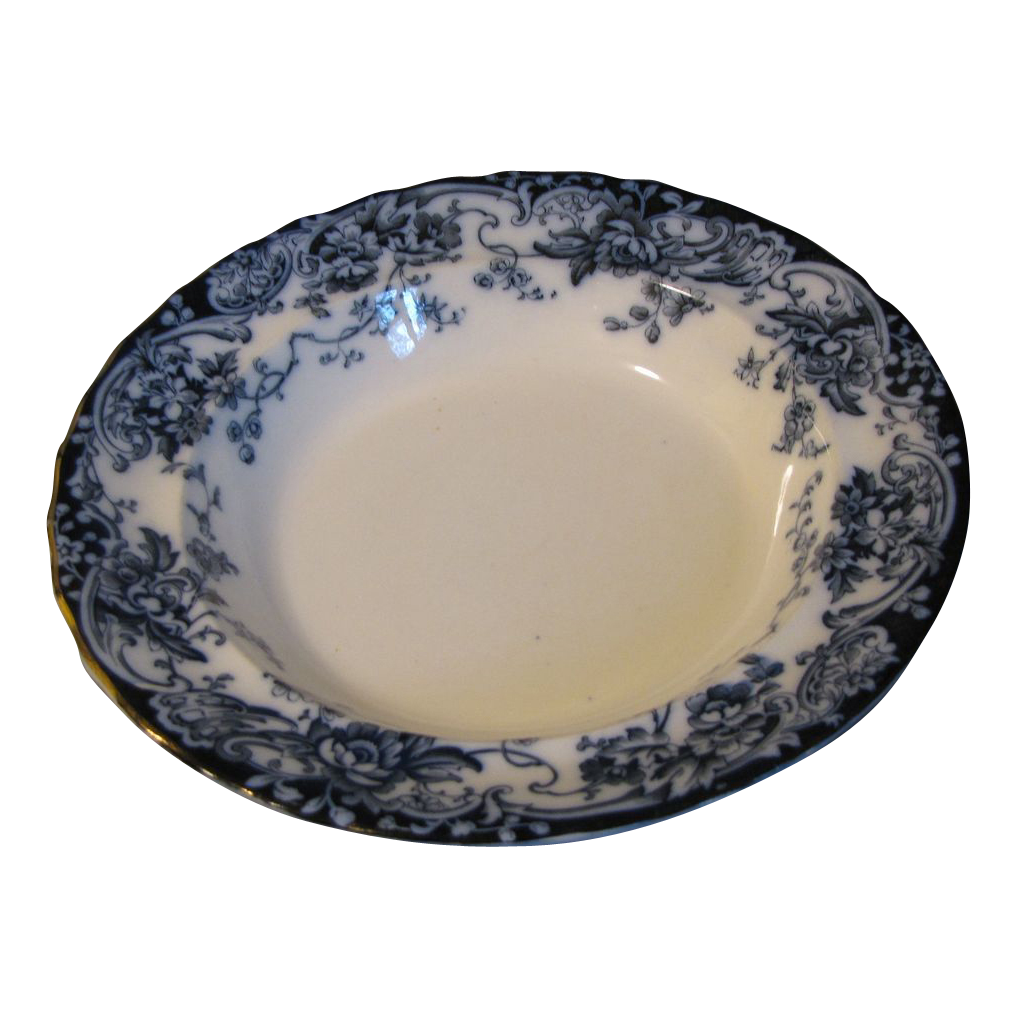 Vintage Flow Blue Soup Plate, CHATSWORTH, Keeling