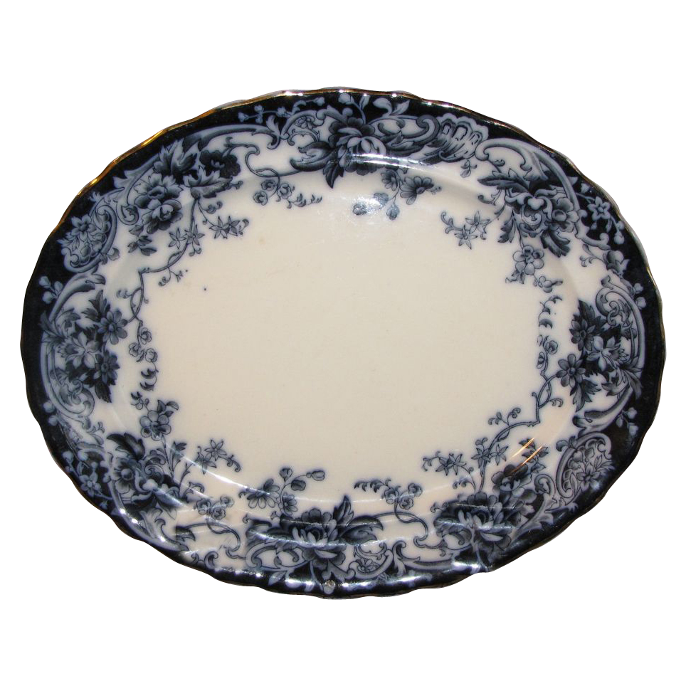 Lovely Flow Blue Platter, CHATSWORTH, Keeling