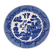 """Early JAPAN Blue Willow Plate, 9 1/2"""""""