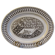 Lovely English Brown Transferware Platter, Aesthetic Design