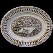 Lovely English Brown Transferware Platter, Aesthetic Design