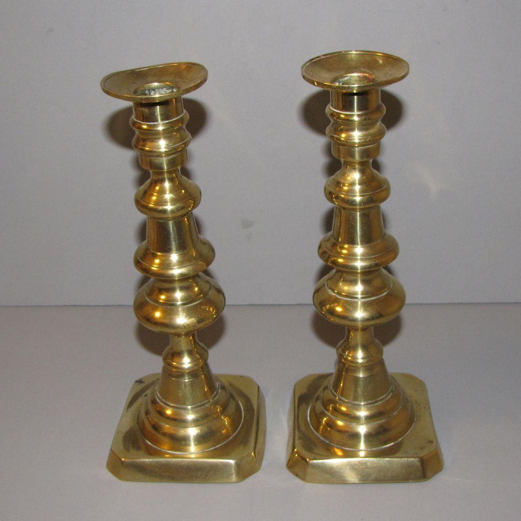 Brass Candlesticks vintage english brass candlesticks, push-up from tomjudy on ruby lane