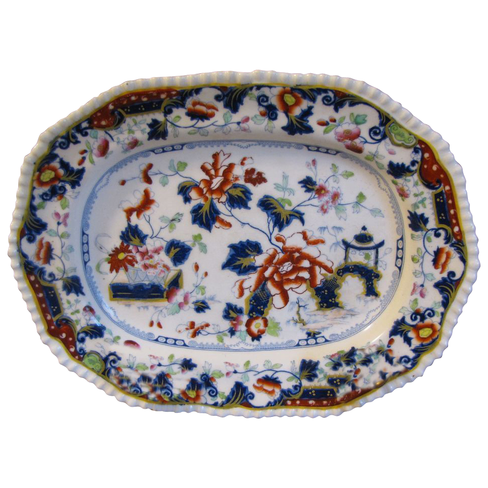 Lovely 19th C. English Oriental Design Platter, Enamels