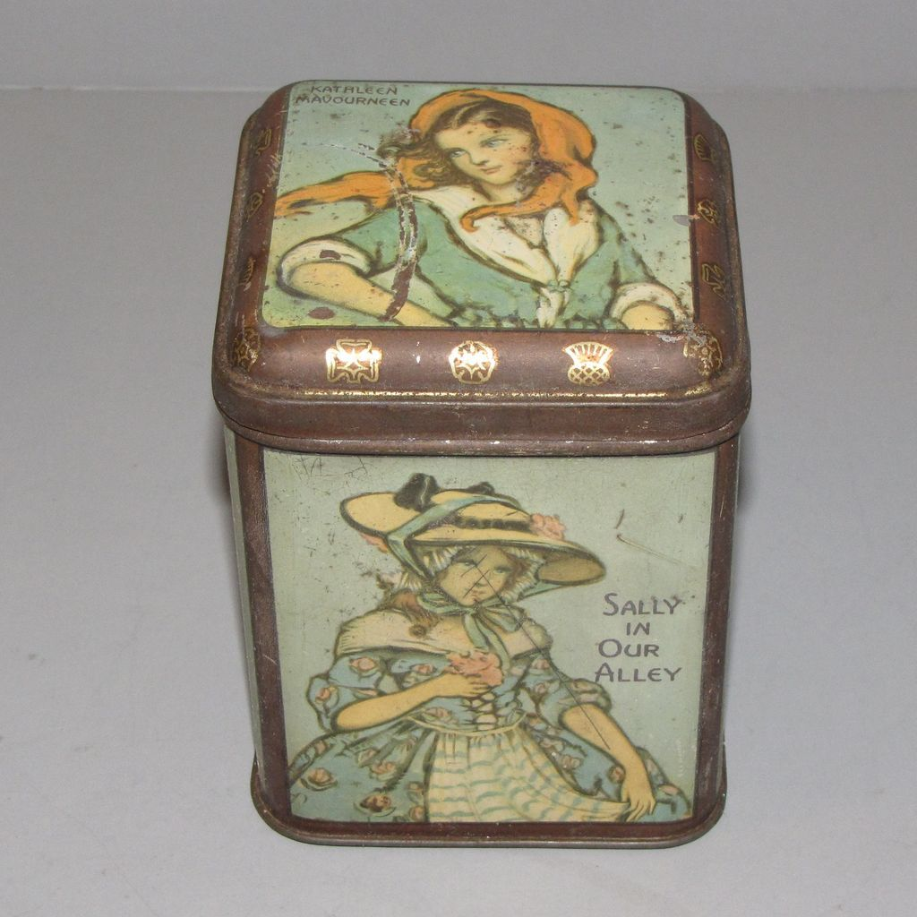 Vintage Unmarked British Tea Tin, Irish Folk Song Ladies