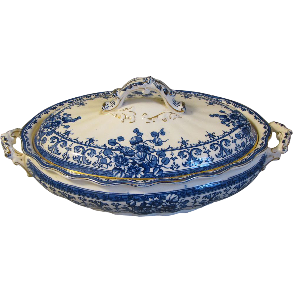 Vintage Flow Blue Vegetable Bowl, OXFORD, K & Co.