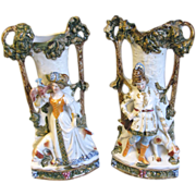Gorgeous Pair of Antique Porcelain Figural Vases