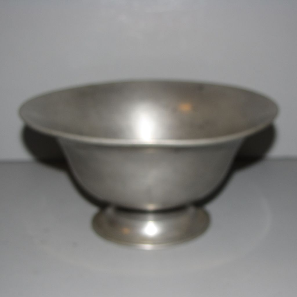 Vintage French Pewter Pedestal Bowl